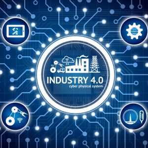Industry 4.0 internet of things concept . Electric circuit graphic and infographic of Augmented reality screen software , automate wireless Robot arm , smart factory icons